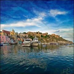 Fishermen port (gabrielescotto) Tags: blue sea sky art texture photoshop boat reflex nikon bravo mare harbour blu porto cielo procida f28 corricella nikond80 gabrielescotto vertorama vertoramas tokina1116