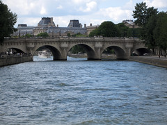 Paris (russelljsmith) Tags: city travel bridge blue roof vacation sky holiday paris france river bride big europe weekend 2009 77285mm
