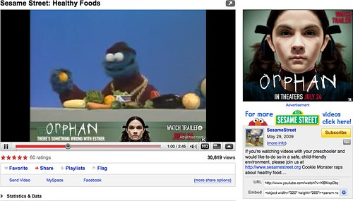 Cookie Monster sings about healthy food.