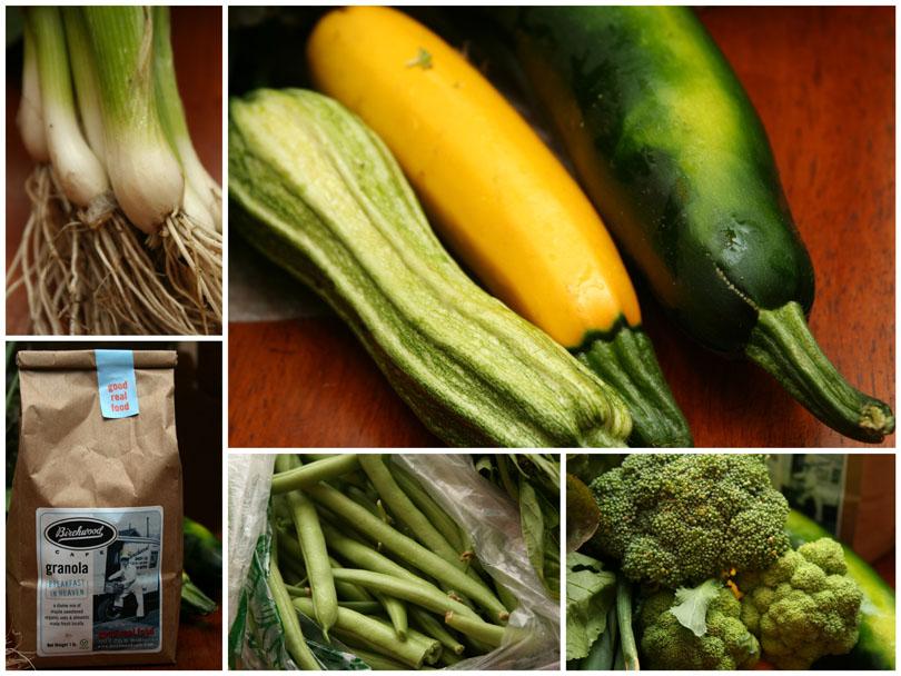 onions, summer squash, granola, green beans & broccoli