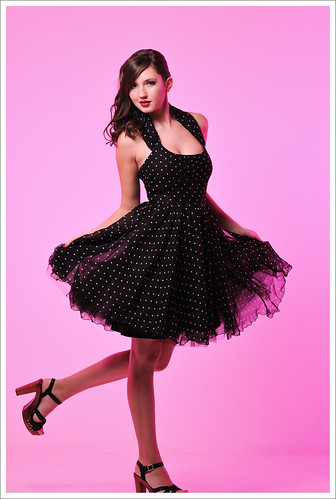 Pink Background Studio Full Length Look-Book Fashion Photography with Polka Dot Dress