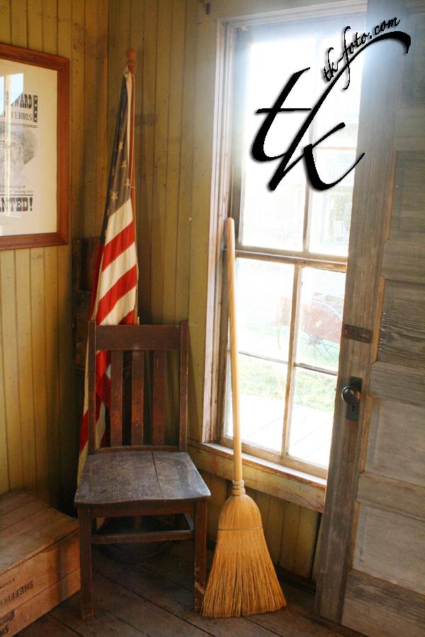 Broom, Flag & Chair