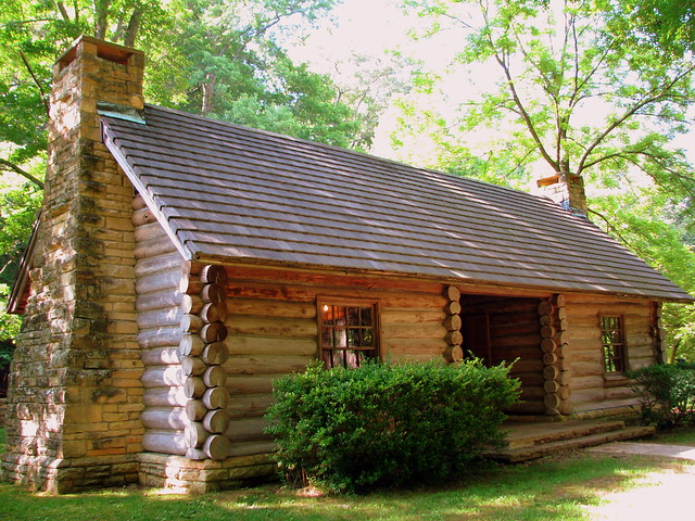 Birthplace of a Denomination 2: replica McAdow Cabin