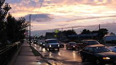 A rainy sunset on South Archer Avenue. Chicago Illinois. August 2009.