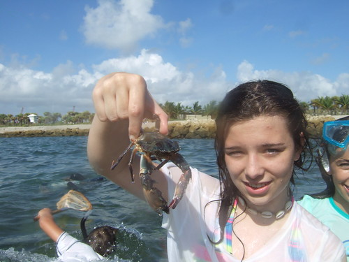 Amanda with a BIG swimming crab!