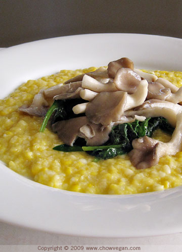"Fresh Corn ""Polenta"" With Oyster Mushrooms"