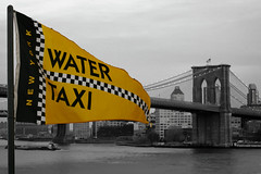 watertaxi (veros222) Tags: newyorkcity bridge blackandwhite bw yellow flag pole brooklynbridge eastriver seaport watertaxi selectivecolor challengeyou challengeyouwinner thechallengefactory fotocompetition fotocompetitionbronze