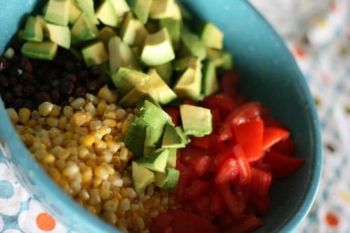 beans, corn, tomato, avacado