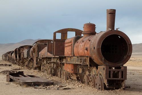 Abanonded steam engine in Uyuni train cemetery