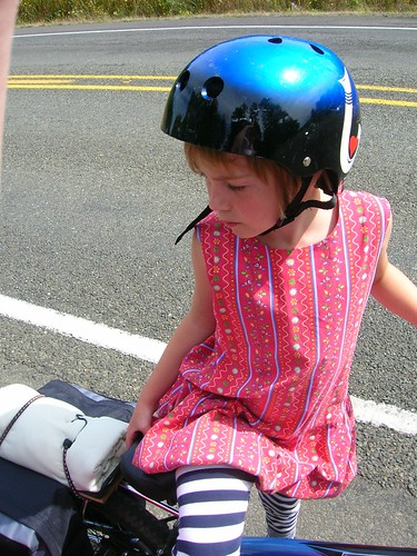 Little Hot Pocket. Most of our mini-stops shed take off her helmet to get some of the breeze on her hot head.