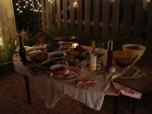 the table of food and copious amounts of wine
