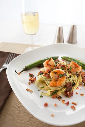 Bacon Shrimp & Cilanto Mint Pesto