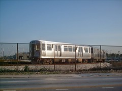 The CTA orange line Midway Airport turning loop. Chicago Illinois. August 2007.
