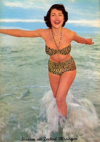 : retro, vlissingen, pinup, beach, sea, vintage, postcard, sexy, bikini