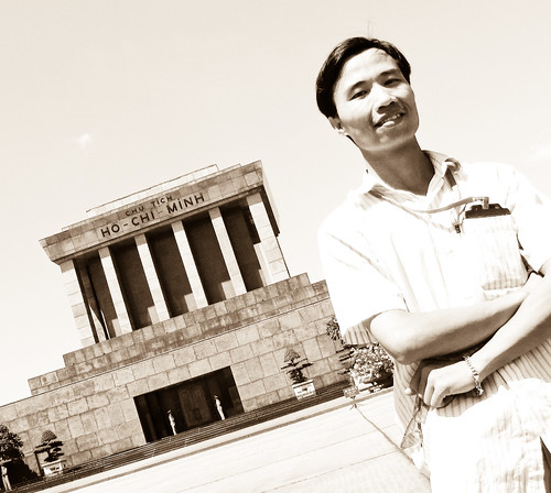 Tony in front of Uncle Ho's mausoleum