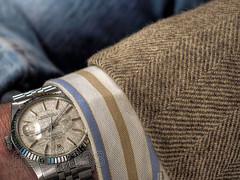 Rolex DateJust, Just Right. (freddydynip) Tags: art shirt canon silver linen steel stripes dial wrist cuff rolex stainless datejust twinlock 16014