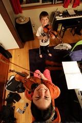 mother & son practice violin