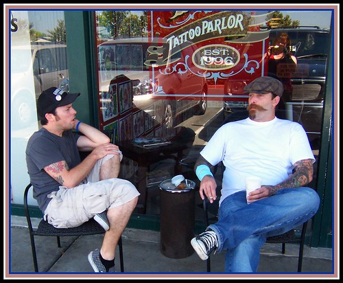 July 2008 · Kevin and Todd relaxing in front of Ace High Tattoo Fullerton,