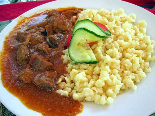 Sertesporkolt hazi galuskaval (Pork Stew with Home Made Dumplings)