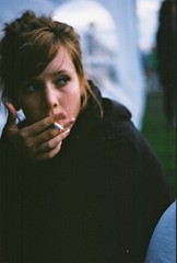 (ole thomas) Tags: brown black girl oslo hair hoodie eyes cigarette live 200iso konica c35