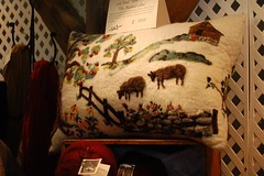 Felted pillow at Weston Hill Farm