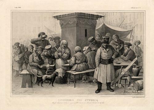 007-Reparto de sopa en un comedor de beneficencia- Varsovia 1841-Album de dibujos de Varsovia- Piwarski