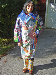 """""""21st Century Fusion"""" fused plastic bags coat ~ photo 19 (Urban Woodswalker) Tags: art fashion collage wonderful advertising typography design graphicdesign weird colorful different graphic unique oneofakind ooak coat awesome creative craft surfacedesign add statement recycle fabulous melted fashionshow craziness bizarre consumerism branding artisan plasticbags overthetop ironed chicagoland reuse fused popularculture repurpose 21stcentury ecoart workofart arttowear upcycle artwear myowndesign iconagraphy urbanwoodswalker swancc environmentalstatement 2009flashytrashionshow visualoverstimulation midwesternartist maenriquez maryanneenriquez savemyoceans"""