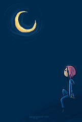 there is something between the moon and me. (bengi gencer) Tags: moon illustration night dark sketch waiting pinkhair characterillustration