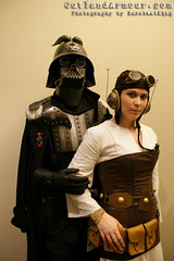 Vader and Leia (OutlandArmour) Tags: costumes atlanta star starwars costume princess cosplay handmade goggles victorian gear princessleia armor darth wars conventions vader darthvader brass gears armour sith dragoncon leia cosplayers steampunk neovictorian breastplate outlander sithlord leiaorgana outlanders outlandarmor dragoncon2009 outlandarmour laurilyehutchinson