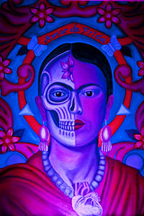 Frida Kahlo (johnwilliamsphd) Tags: california ca copyright love cemetery john painting dayofthedead death skull la losangeles williams heart amor c frida mausoleum hollywood diadelosmuertos earrings kahlo hollywoodforever derivative halfskull  williams john johncwilliams amordefrida johnwilliamsphd phd