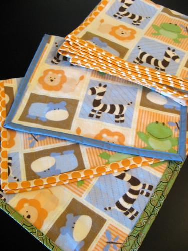 baby animal blanket and burp cloths