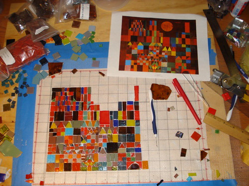 Reproduction of Paul Klee's Castle and Sun in mosaic-work in progress