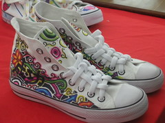 Hand Painted Shoes (Incalzando) Tags: canvasshoes highcut handpaintedshoes pallasjazzstar