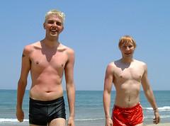 Beach Boys (Toni Kaarttinen) Tags: sea shirtless italy men beach boys sand italia chest guys rimini blond shorts swimsuit riccione swimmingtrunks