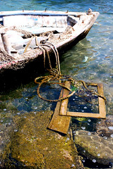 Close-up. (TheSilentPiano) Tags: lighting wood old sea net composition turkey boat sand rocks natural antique ropes viewpoint sinking bodrum greekboat kosisland