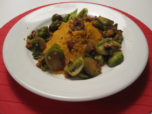 Sweet potato purée, Brussel sprouts sautéed in duck fat with garlic, onions and roasted walnuts