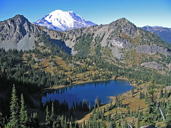 Upper Crystal Lake and Mt. Rainier (Mike Dole) Tags: mountrainiernationalpark cascades washingtonstate crystallake mtrainiernationalpark