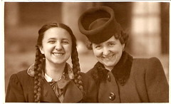 1938. Mum and Grandma (elinor04) Tags: family woman girl hat fashion vintage photo 1930s hungary budapest young teens braids coats hairstyle