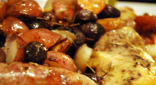 Autumn Roasted Chicken and Sausages with Balsamic Drizzle