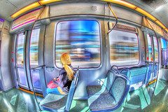 Blonde Rider, Phoenix Light Rail (gbrummett) Tags: art colors train photomanipulation photoshop wow spectacular amazing cool digitalart trains dpp hdr phoenixarizona photomatixpro digitalphotoprofessional phoenixlightrail canonef15mmf28fisheyelens photoshopcreativo hardcorestreetphotographyhcsp adobephotoshopcs3macintosh canoneos5dmarkiicamera grantbrummett ridethelightrail ridelightrail ridethephoenixlightrail