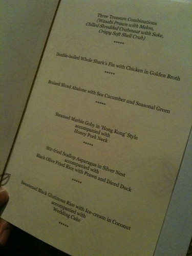 The fancy schmancy menu at St Regis