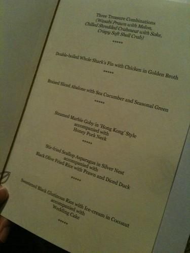 The fancy schmancy menu at St Regis