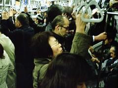 Yamanote (JanneM) Tags: woman man film japan night rollei train tokyo fuji jan crowd rail human 400   35 janne yamanoteline moren janmoren