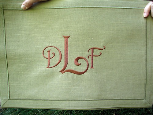 Harrington Font on khaki placemats
