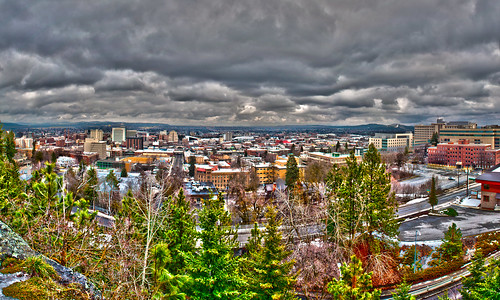 spokane city downtown from above by DigiDreamGrafix.com