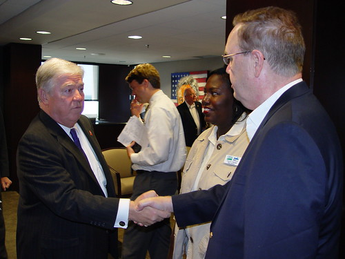 Mississippi Governor Haley Barbour greets USDA Under Secretary Dallas Tonsager and Mississippi State Director Trina George at the start of a briefing on the state of the flood damage in Mississippi.