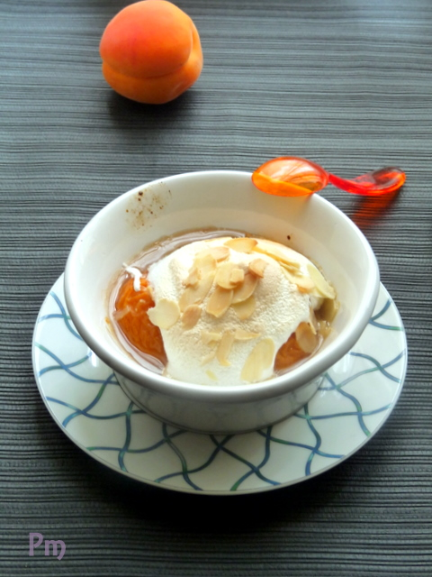 Apricots with maple syrup and almond meringues