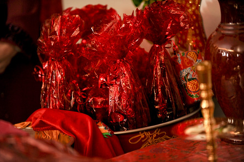 Wedding Tea Ceremony Detail: Lucky Red Items