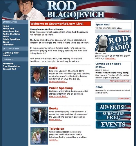 Disgraced Former Governor Blagojevich Launches New Website – GovernorRod.com