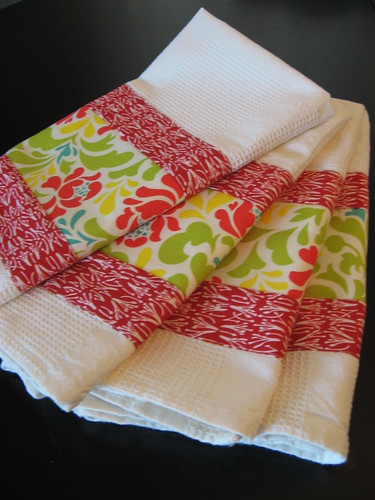 Red Floral Dishtowels